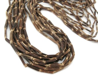 "Wood CocoNut Beads - Eco Friendly Tube Beads 15mm - 30"" strand  (PC224)"