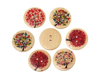 Seasons Trees wood sewing buttons - 6 Mixed Patterns craft buttons