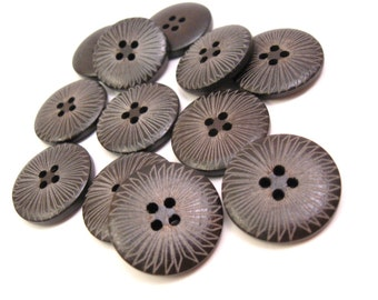 Dark brown Wooden Sewing Buttons 25mm - set of 6 natural wood button - Sunbeam