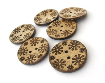 6 Brown flower pattern Coconut Shell Buttons 28mm - Natural and Eco Friendly round sewing button