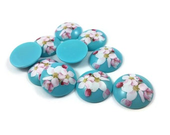 25mm aqua blue resin cabochons with sakura flower - set of 10 round dome cabochons