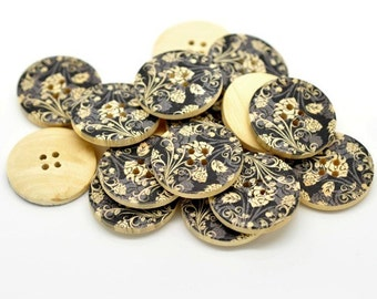 Black and Grey Flower Pattern Wooden Painting Buttons 3cm - Natural wood flowers color set of 6  (BB105P)