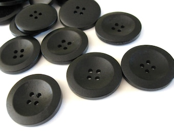 Black Wooden Sewing Buttons 30mm - set of 6 natural wood button