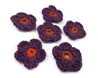 Crochet Flowers - 6 Handmade Embellishments 45mm - Purple