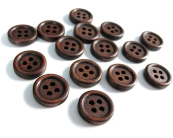 Wood button - Dark Brown 4 Holes Wooden Sewing Buttons 15mm - set of 15