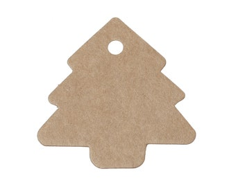 Christmas tree gift tags - blank kraft paper tags - Set of 10 or 50