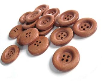 6 auburn wooden buttons 23mm