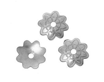 50 Bead caps antique silver tone FS151