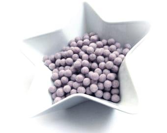 1cm felt balls - 25 lavender pure wool beads - Mauve purple shade
