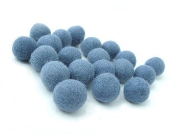 Felt Balls Blue - 20 Pure Wool Beads 23mm - Medium Blue Shade