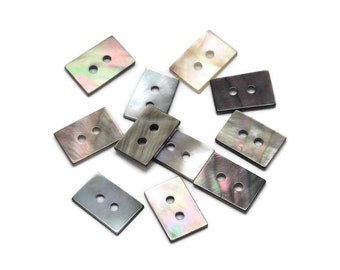 Rectangle MOP buttons - Mother of Pearl Shell Buttons 12mm - set of 4