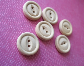 Unfinished wooden button 15mm - set of 6