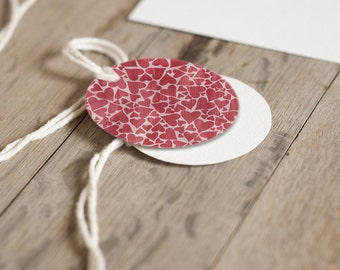 2 Inch Round Tags Images - Valentine Hearts - Digital Collage Sheet
