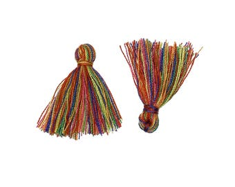 10 Boho Cotton Tassel Rainbow 20mm