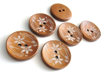 Wood button white flowers pattern 30mm 6pcs