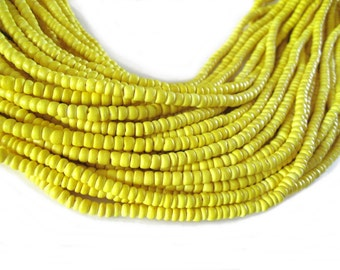 Coconut bead 150 yellow wood Beads - Coconut Rondelle Disk Beads 4-5mm