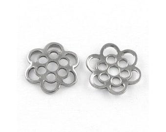 10 Flower bead caps hypoallergenic stainless steel 13mm beadcaps