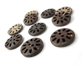 6 Brown Coconut Filigree Buttons 20mm - Natural and Eco Friendly  (BC606)