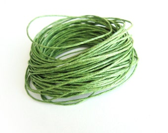 Waxed cotton cord 1mm - Green 10 meters / 32.8 ft