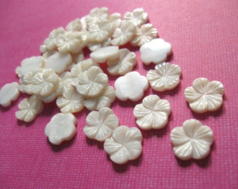 Cabochon flower - 6 shell cabochons flower off white 12mm