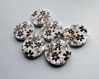 White and Flower Pattern Wooden Sewing Button 30mm - set of 6 wood buttons
