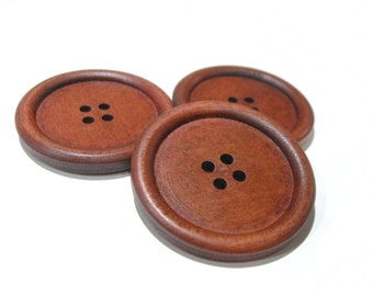 "Large wood button maroon brown - 3 wooden big buttons 40mm (1 5/8"")"