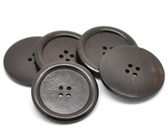 "Dark Brown big button - 3 wooden buttons 40mm (1 5/8"")"