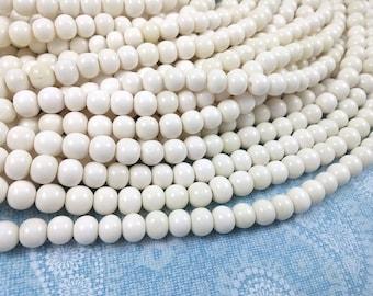 White bone beads, bone round beads 8mm, eco friendly and natural bone beads