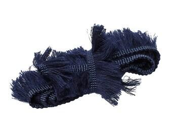 """Cotton Fringe Tassel Trim Dark Blue 25mm (1"""") Wide, price by meter"""