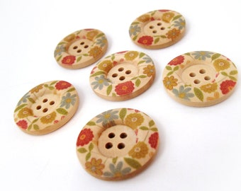 Multicolor Flower Pattern Wooden Sewing Buttons 30mm - set of 6 natural wood button