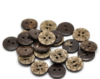 10 Brown Coconut Shell Buttons 15mm -  Geometric
