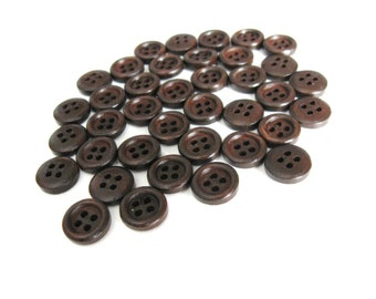 Mini Wood button - Dark Brown 4 Holes Wooden Sewing Buttons 11mm - set of 36