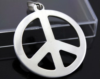 Peace logo pendant stainless steel hypoallergenic DIY necklace pendant