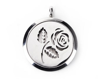 Stainless Steel Aromatherapy Essential Oil Diffuser Locket Pendants - Rose Flower