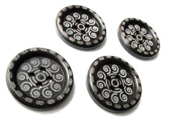 4 Dark Brown Scroll wood button 25mm