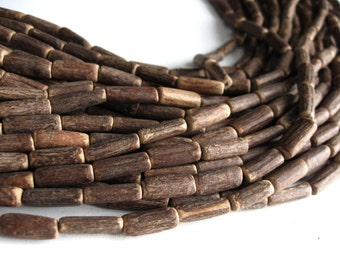 "Wood CocoNut Beads - Eco Friendly Tube Beads 15mm - 15"" strand"