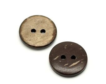 12 Brown Coconut Shell Buttons 15mm - Natural and Eco Friendly  (BC603E)