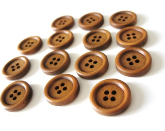 Wood button - Brown 4 Holes Wooden Sewing Buttons 15mm - set of 15  (BB103)