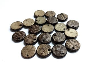 20 Rustic Coconut Beads Shell, flat round charms or pendants 14mm - Brown