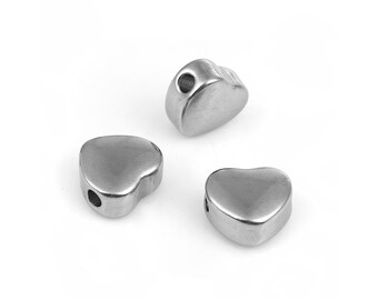 Stainless Steel Heart Beads 10mm