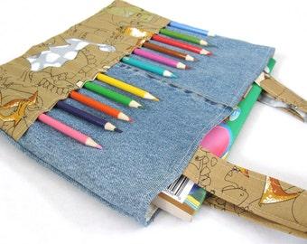 DIY Coloring Bag Sewing Pattern - Art bag for children tutorial PDF download ePattern