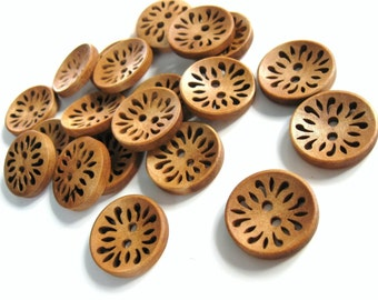 6 hollow flower wooden buttons 23mm