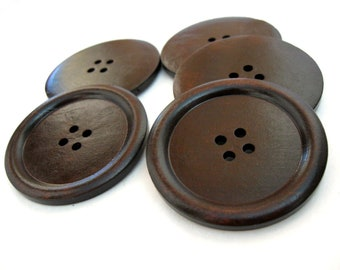 """Large wood button in dark brown 2"""" set of 3  #BB150A"""