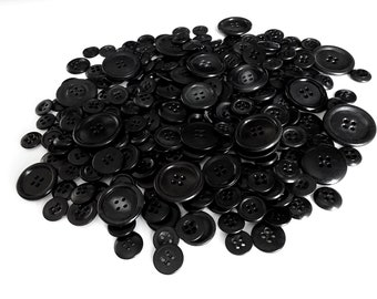 Lot of 4 holes black vintage sewing buttons