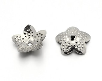 10 Flower bead caps hypoallergenic stainless steel 10mm beadcaps