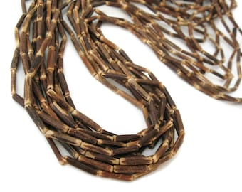 """Wood CocoNut Beads - Eco Friendly Tube Beads 15mm - 30"""" strand  (PC224)"""