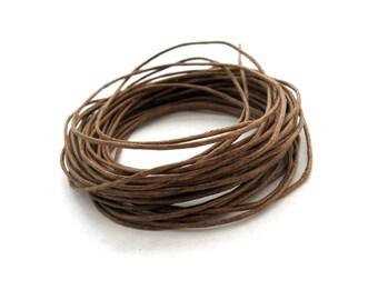 Mocha Brown Waxed Cotton Cord 1mm - 10 meters / 32.8 ft
