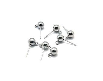 10 pairs Stainless Steel Earring Post, Earstud, Ball head, with loop, Hypoallergenic