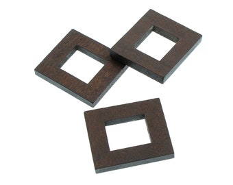 Wood Beads Rectangle, No Hole, 25x30mm, Set of 5