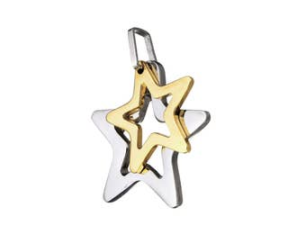 Two tone star pendant, gold and silver, stainless steel hypoallergenic DIY necklace pendant